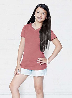 GIRLS V-NECK FINE JERSEY TEE