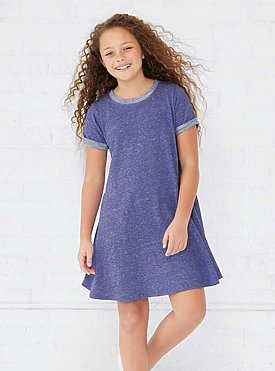 GIRLS MELANGE FRNCH TRRY DRESS