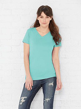 LADIES V-NECK FINE JERSEY TEE