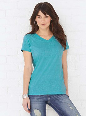 LADIES V-NECK MELANGE TEE