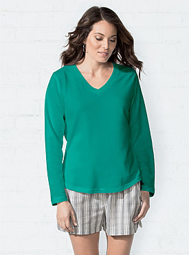 LADIES V-NECK FR TRRY PULLOVER