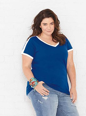 LADIES CURVY RETRO RINGER TEE