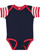 INFANT BABY RIB BODYSUIT Navy/Red-White Stripe/Red Open
