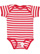 INFANT BABY RIB BODYSUIT Red-White Stripe Open