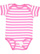 INFANT BABY RIB BODYSUIT Raspberry-White Stripe Open