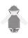 INFANT LNG SLV BODYSUIT W EARS Granite Heather/White Open