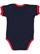 INFANT RUFFLE BODYSUIT Navy/Red Back
