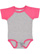 INFANT BASEBALL BODYSUIT Vn Heather/Vn Hot Pink Open